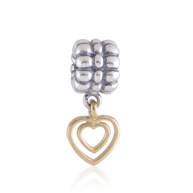 Подлинная стерлингового серебра 925 бусины любовь золото в форме сердца рисунок женщины DIY ювелирных украшений подходит пандора оригинальный прелести браслет