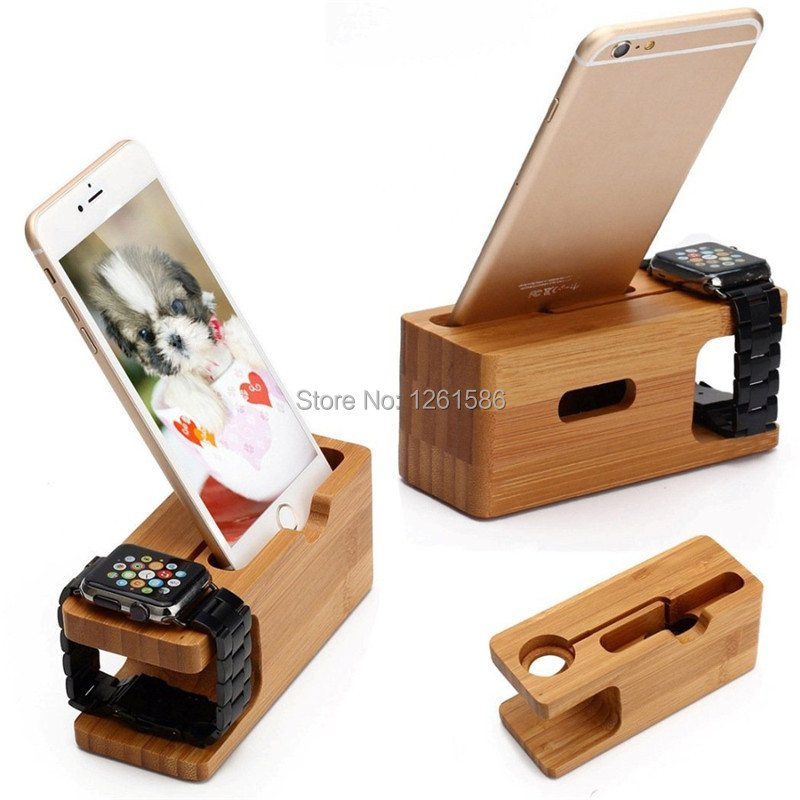 [Charging Dock] Dual Natural Bamboo Wood Charge Holder Station Cradle For Apple Watch iWatch 42mm38mm Samsung Galaxy and iPhone1