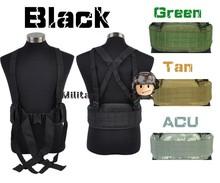 Airsoft Molle Tactical Combat Waist Padded Belt with H-shaped Suspender Adjustable High Quality Nylon Cummerbunds-BK/OD/TAN/ACU