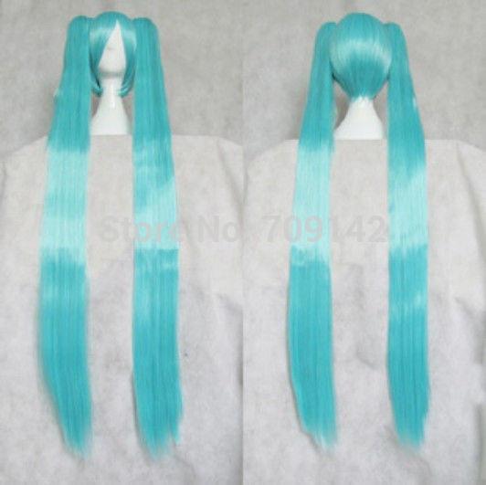 2 clips Vocaloid Hatsune Miku Blue Long Straight Wig Kanekalon hair queen brazilian no lace front made wigs<br><br>Aliexpress