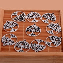 Buy 10PC Silver Plated Tone Hollow Tree Life Charms Pendants Bracelet Necklace Charm Women Jewelry Making Accessories DIY Xmas for $1.59 in AliExpress store