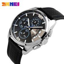 2016 New Sport Watches men Fashion Quartz Wrist watch Waterproof Leather Band Stopwatch Luxury Brand Skmei relogio masculino