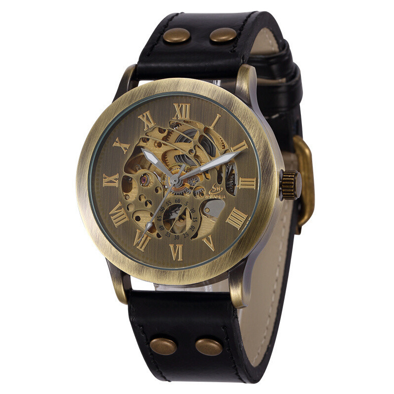 2014 Brand ShenHua Vintage Roma Mechanical Watch Men Antique Bronze Skeleton Automatic Mechanical Watch Leather Strap Wristwatch<br><br>Aliexpress