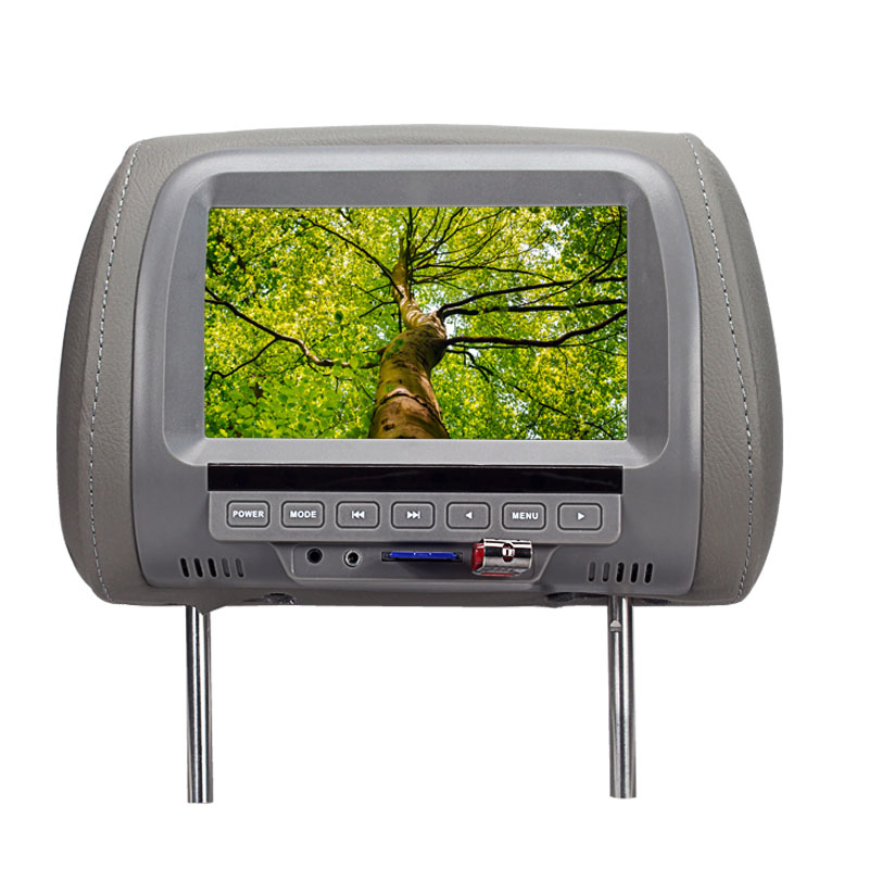 7 Inch TFT LCD Screen Car Video Products General Car Headrest Monitor Grey color AV USB SD MP5 speaker SH7038-MP5(China (Mainland))