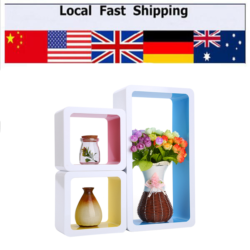 Hottest 3Pc/Set Floating Wood Wall Cubes CD DVD Shelf Hanging Storage Display Shelves(China (Mainland))