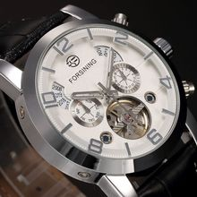 2015 Forsining Horloges Mannen Tourbillion Day Mechanical Auto Leather Watch Men Wristwatch Christmas Gift Gift Box