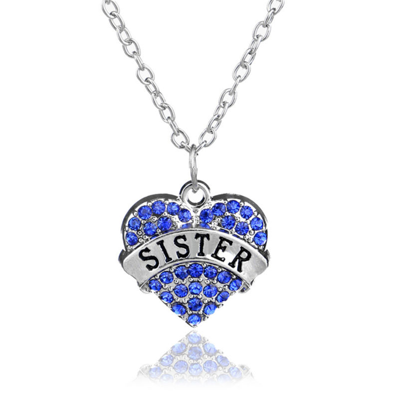 New Creative Sister Letter Rhinestone Necklace Crystal Pink White Blue Heart Pendant Jewelry Women Chain Family Christmas Gift