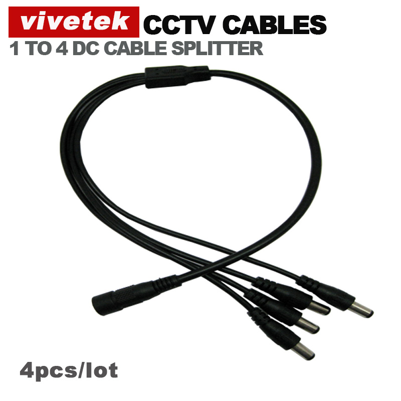 4pcs/lot power cable splitter DC cable 1 female connector to 4 male connector cctv accessories(China (Mainland))
