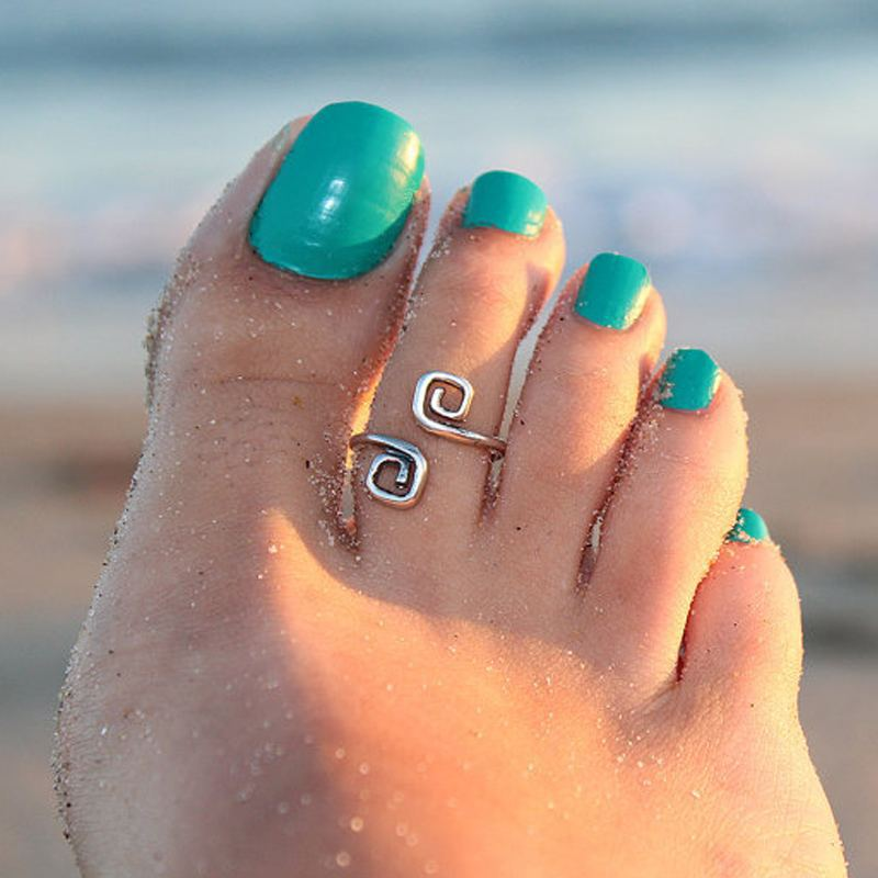 vintage retro silver plated adjustable toe ring foot