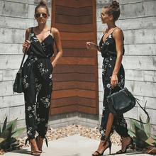 2019 verano mujeres Casual sin mangas cuello en V monos moda señoras Boho Floral Bodysuit pierna ancha pantalones largos sueltos Pantalones(China)