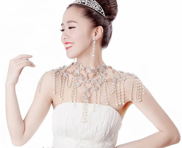 Luxury Jewelry Bride Necklace Crystal Shoulder Chain Wonderful Pearl 2015 Fashion Cheap Formal Party Accessories Rhinestone