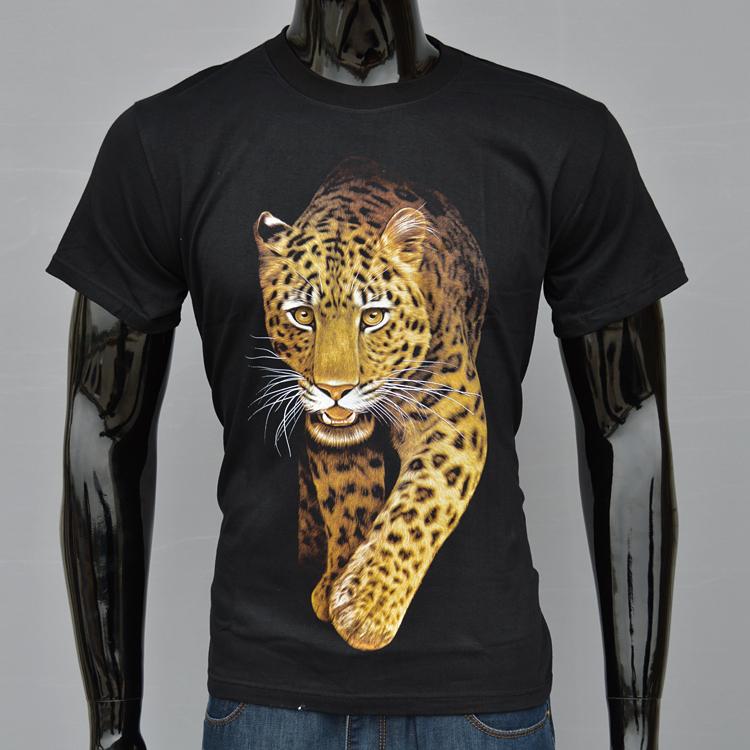 2015 men's short-sleeved t-shirt cotton leopard 3D animal system class 3D effect Men t-shirt sports summer suit free shipping(China (Mainland))