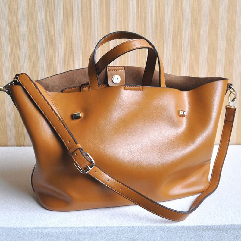 New 2015 women leather handbags one shoulder shopping bag fashionable casual genuine leather bags Euramerican cowhide(China (Mainland))
