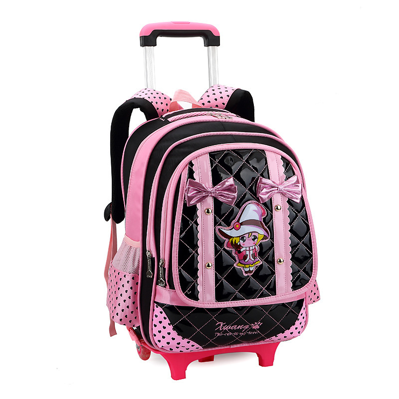 Girls Trolley School Bag Cartoon Backpack Wheels School Bag with Detachable Children Rolling Backpack Books Bag for Girls<br><br>Aliexpress