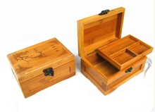 65722 100% Manual made Natural Bamboo Box with cover and lock Flexible Antique style home decorative Inomata(China (Mainland))