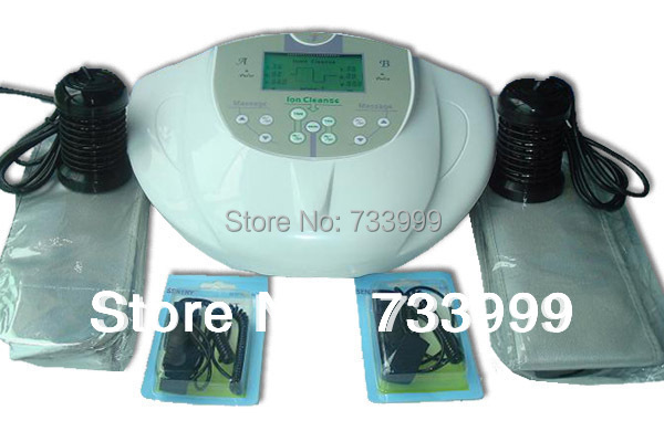 NEW ION IONIC DETOX FOOT BATH CLEANSE SPA MACHINE INFRARED RAY WITH TWO PERSON,with aluminum suit case 4PCS/LOT Wholesale(China (Mainland))