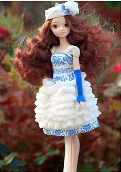 Free Shipping Fashion Pretty 29cm KURHN DOLL in Water Blue and White Porcelain Dress Girl's Favorite Toy Great Birthday Gift