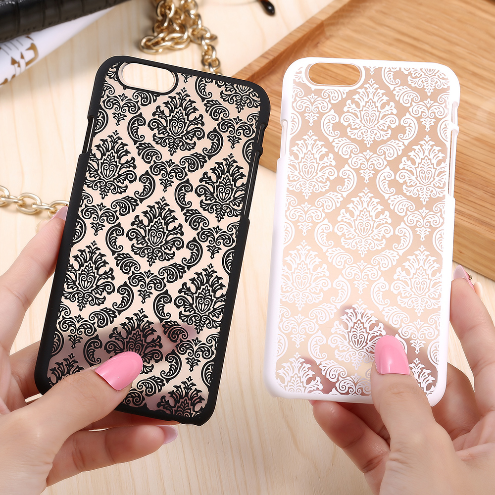 iPhone 6 6s Plus Palace Flower Slim Hard PC Phone Case Plus/5 5S 5SE Transparent Cover Capa Shell Candy Color - Three-A Group Co.,Ltd store