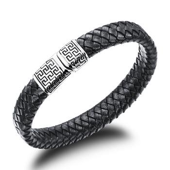 Натуральной кожи якорные браслеты магнитная застежка кнопка черный браслет отдых ...