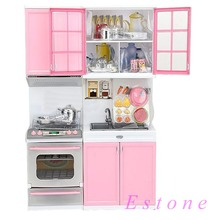Red Pink Kids Kitchen Pretend Play Cook Cooking Set Cabinet Stove Fun Toys(China (Mainland))