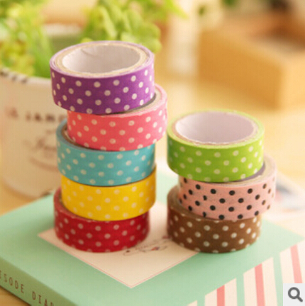 8 pcs/lot 8 colors DIY Cute Cartoon washi tape Sticker Paper Dots for Scrapbooking Decoration Stationery Free shipping 901(China (Mainland))