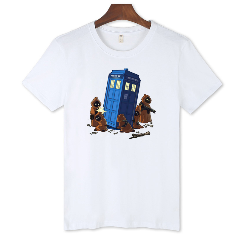 New Arrival Cartoon Police Box Tshirt Men Funny with Men T Shirt Luxury Brand in Cotton Tees and Tops(China (Mainland))
