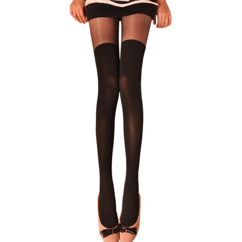 Women Over The Knee Tattoo Tights,Sexy Sheer False High Stockings Pantyhose,Black Mixed Colors Gipsy Mock Ribbed Hosieries