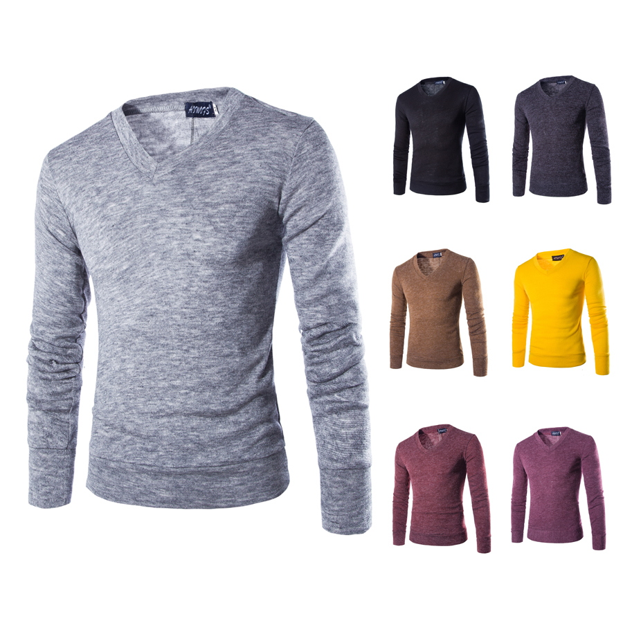 2015 New Arrival Men's Sweater Thin Casual V-neck Slim Fit Long Sleeves Knitted Men Sweaters Pullovers M~XXL  6 color(China (Mainland))