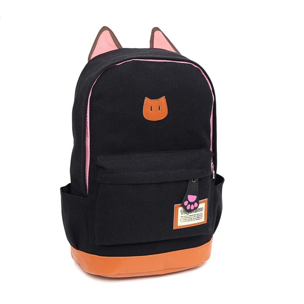 Canvas Backpacks for Teenage Girls School Bags Cartoon Cat Backpack ...