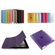 Ultra Slim Magnetic Flip Stand Design PU Leather Smart Fundas Case For Ipad 4 3 2 With Crystal Hard PC Case Sleep Function