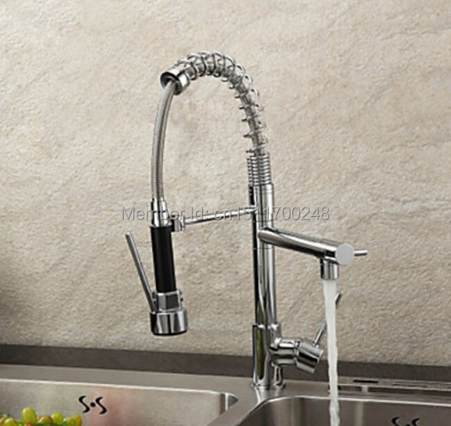 sale polished chrome brass kitchen faucet spring style