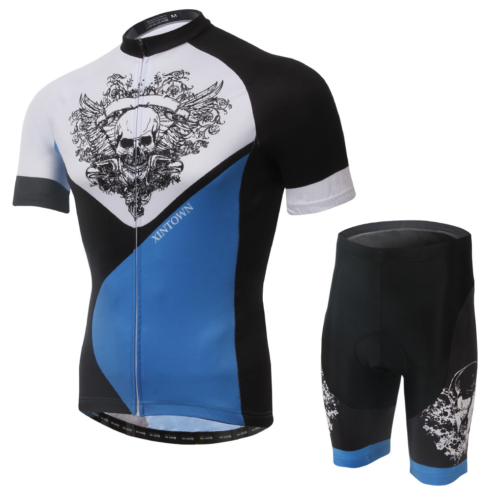 XINTOWN Skull 2016 Cycling Jersey Men's Short Sleeve GEL Breathable Pad Mtb Bicycle Cycling Clothing Bike Wear Shirts Outdoor