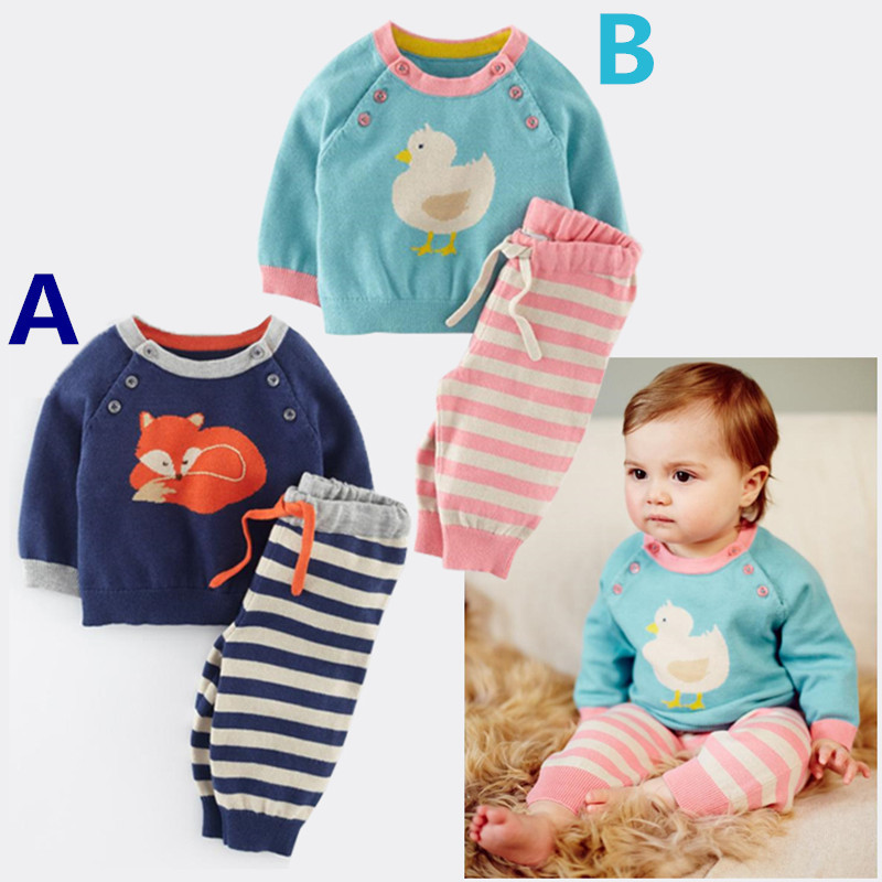 New 2015 style winter Baby Boys Girls carters Clothing set Clothes Sets children suits 2 pcs cartoon long sleeve infant clothing(China (Mainland))