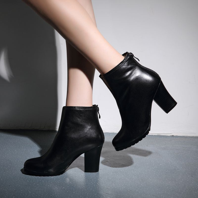 autumn winter new affordable concise pure black women ankle boots elegant shoes woman square high heels zipper short boots women<br><br>Aliexpress