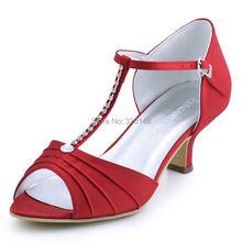 Woman Shoes Red Low Heel T-Strap Rhinestones Satin Bride Bridesmaid Prom Evening Dress Pumps Women's Wedding Bridal Shoes EL-035(China (Mainland))