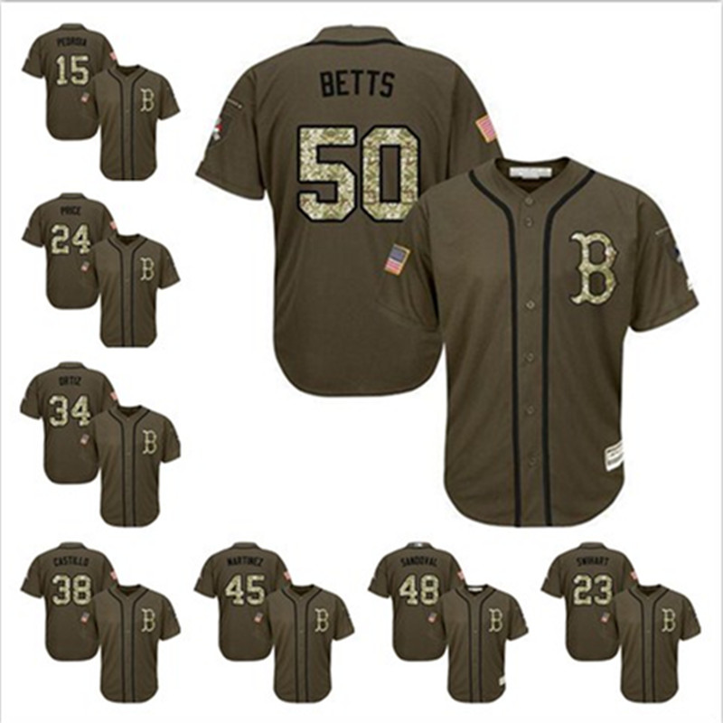 Mens Bostons David Price Mookie Betts Army Green Red Salute To Service Admiral Military Camo Baseball Jersey Camouflage Gear(China (Mainland))