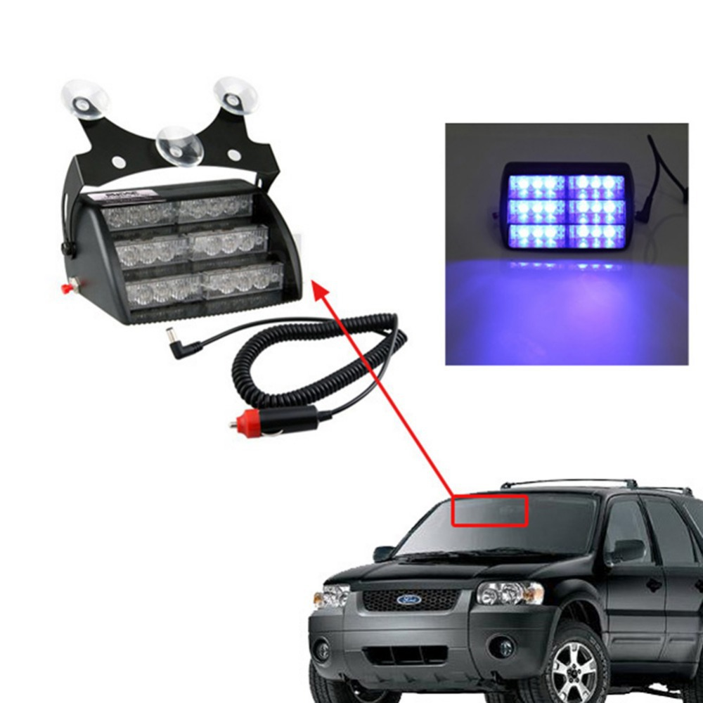 18 LED Car Emergency Vehicle Strobe Lights for Front Grille/Deck - Amber & Blue Led Emergency Light Traffic Safety Indicator(China (Mainland))
