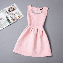 2016 New Fashion women dress sleeveless vintage summer dress elegant party Slim Bottoming dresses print ball gown vestidos ZJ465(China (Mainland))