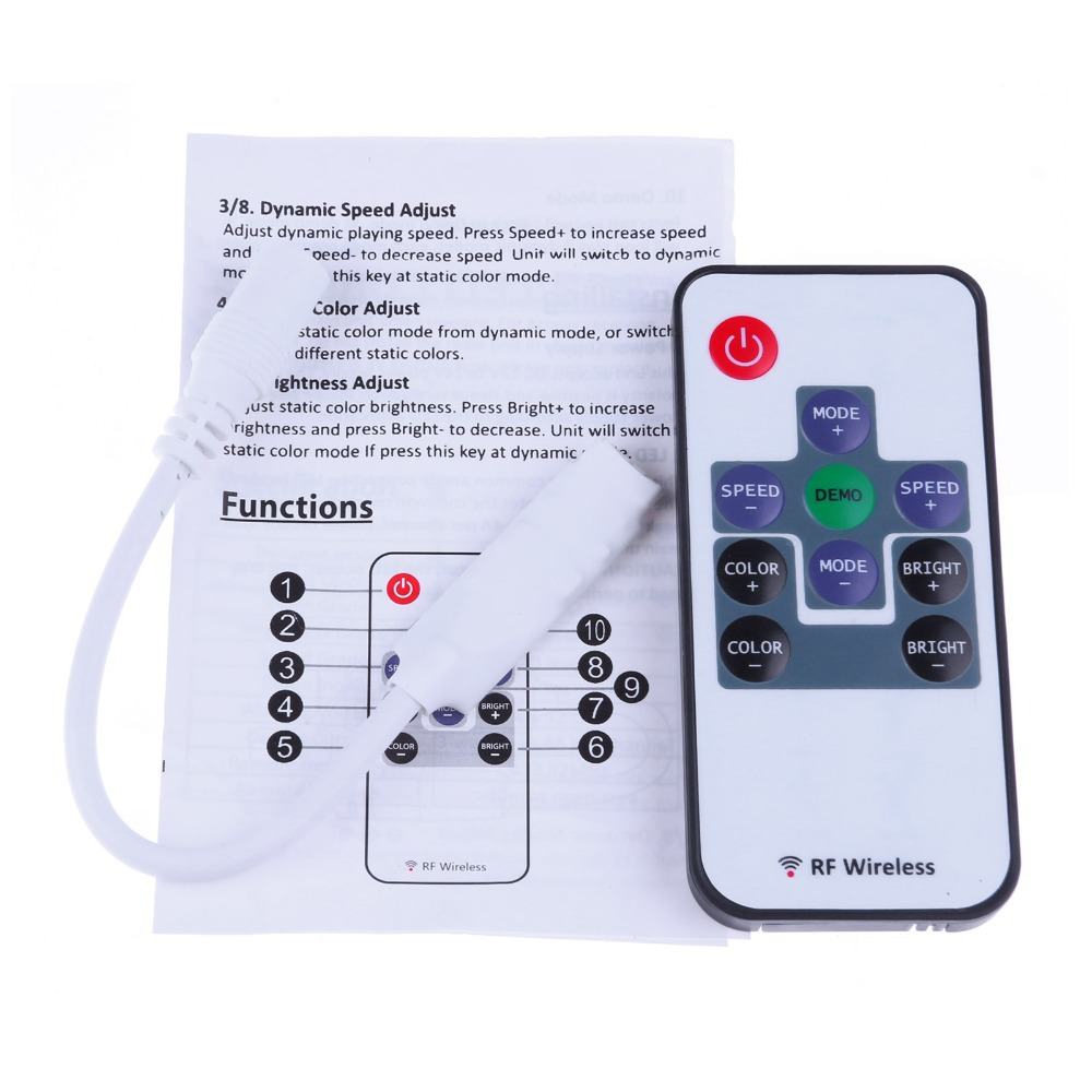 New Mini Wireless RF RGB Controller with Remote Control For 3528 5050 RGB Digital LED Strip With Battery(China (Mainland))