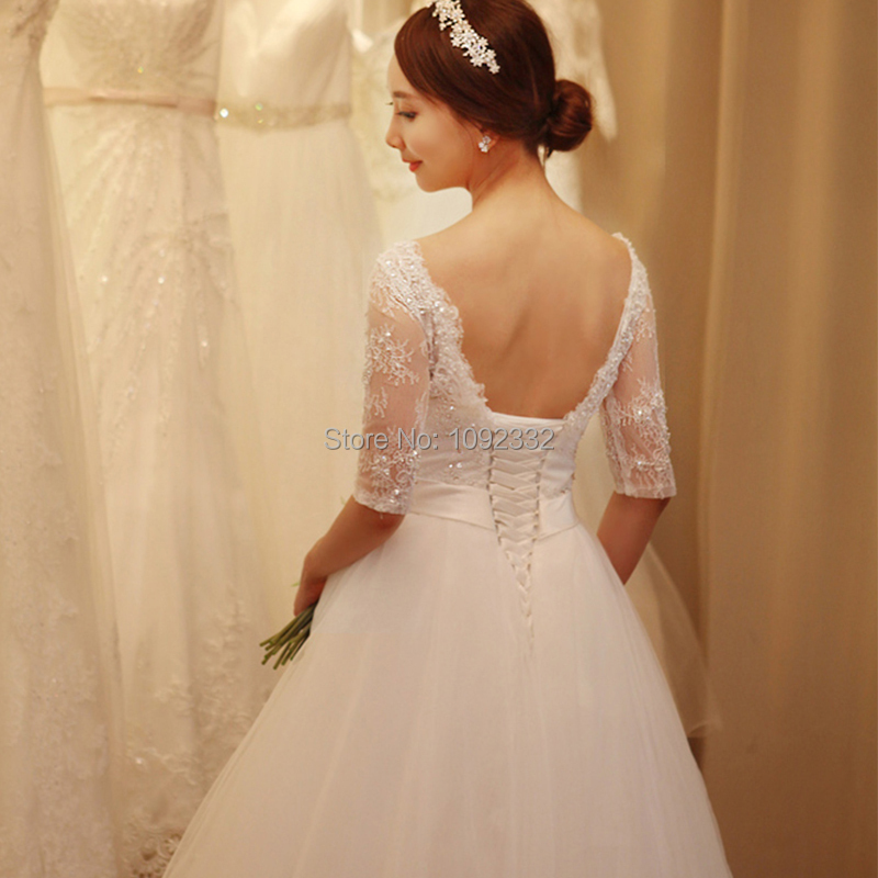 z 2016 New stock bridal gown plus size women wedding dress backless one word shoulder lace