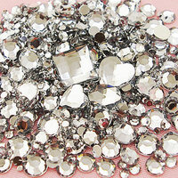 1500pcs/Lot Mix Sizes Clear Round Acrylic Resin Non Hotfix Flatback Rhinestone 2mm 3mm to 6mm for 3D Nail Art Crystal Decoration