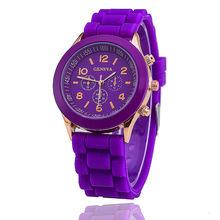 2019 gran venta Geneva marca de silicona para mujer reloj de pulsera de cuarzo para mujer(China)