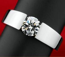 คลาสสิกผู้ชายแหวนหมั้น18พันจริงสีขาวชุบทองAAAลูกศรเพชรCZคนรักสัญญาแหวนสำหรับผู้ชายผู้หญิง