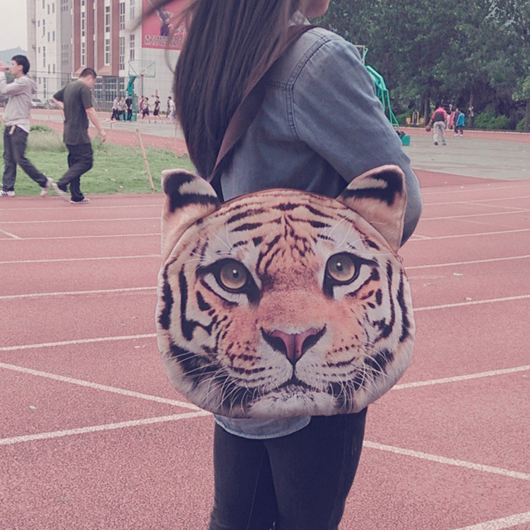 Retro Cartoon Animals Bag tiger Head Personalized Tote Bag Women's Fashion Handbag 3D Printed Shoulder Bag 2015 lady handbag(China (Mainland))