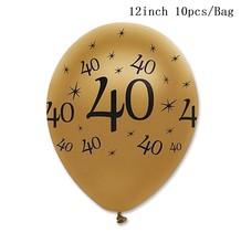 Huiran ouro preto adulto 30th 40th 50th festa de aniversário decorações suprimentos 30 40 50 feliz aniversário banner balões utensílios de mesa(China)