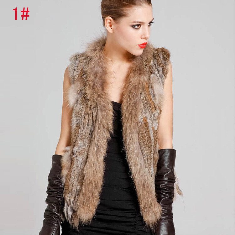 2015New Hot Genuine Knit Rabbit Fur Vest With Raccoon Fur Gilet Women Natural Fur Waistcoat Winter Fur Vests(China (Mainland))