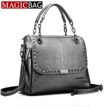 MAGICBAG Newest Fashion Winter Crocodile Chain Brand Designer Handbags High Quality Women Rivet Leather Bags Shopping Messenger