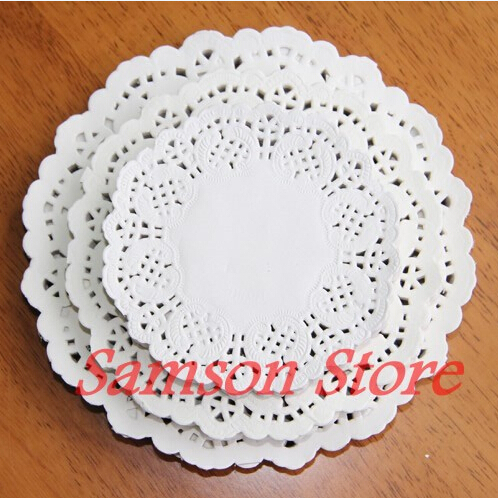 200pc(3.5' 100pc+4.5'100pc) White Paper Lace Doilies lace paper placemats Craft Doilies Wedding Christmas Tableware Decoration(China (Mainland))