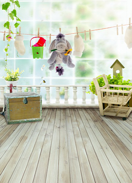 200CM*150CM backgrounds Donkey propose two cotton gloves tucked dangling bucket plastic buil photography backdrops photo LK 1029(China (Mainland))