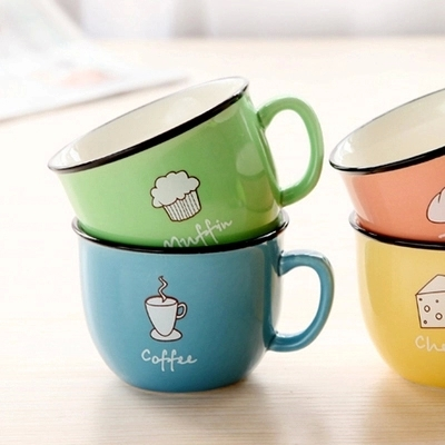 Free shipping breakfast cup couple cups colorful ceramic coffee cup / mug / milk cup taza(China (Mainland))